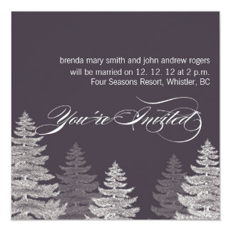 Gray Modern Winter Wedding Invitations Trees
