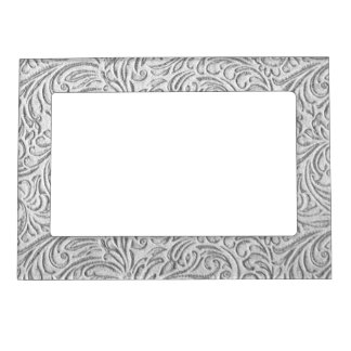 Gray Monochrome Vintage Floral Scrollwork Graphic Magnetic Picture Frame