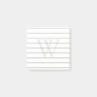 Gray Monogram Lined Post-it Notes