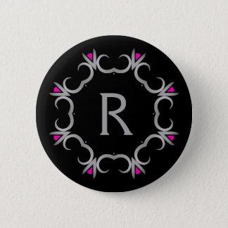 Gray monogram on black 2 inch round button