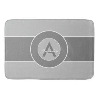 Gray Monogram Personalized Bath Mat