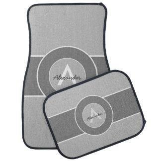 Gray Monogram Personalized Car Carpet