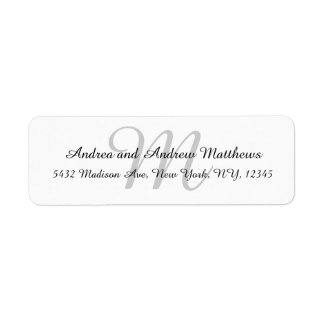 Gray Monogram Return Address Labels for Weddings