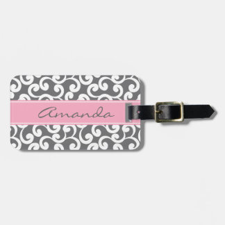 Gray Monogrammed Elements Print Luggage Tag