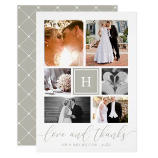Gray Monogrammed Wedding Photo Collage Thank You Card