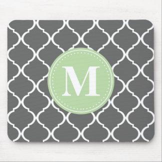 Gray Moroccan Lattice Mint Monogram Mouse Pad