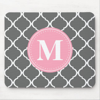 Gray Moroccan Lattice Pink Monogram Mouse Pad
