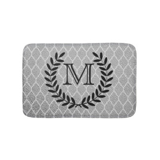 Gray Moroccan Quatrefoil Pattern Monogram Wreath Bath Mat