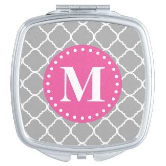 Gray Moroccan Quatrefoil Pattern Pink Monogram Travel Mirror