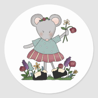 Gray Mouse in Flower Garden Classic Round Sticker