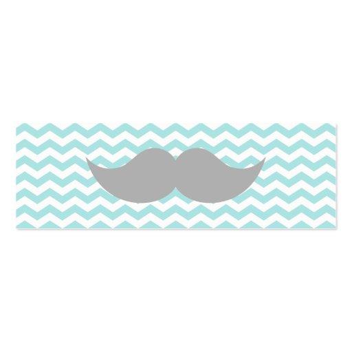 Gray Mustache Teal Chevron Zigzag Stripe Business Card