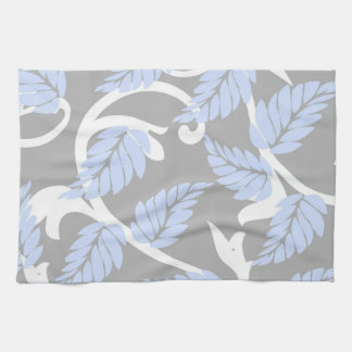 Gray-n-Blue Leaves Kitchen Towel