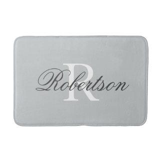 Gray name monogram bath mat | small medium large