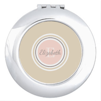 Gray Name & White Monogram Pink & Beige Makeup Mirror
