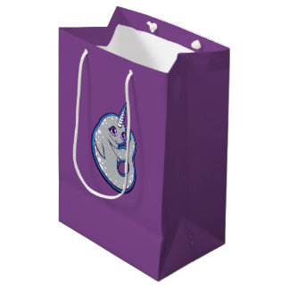 Gray Narwhal Whale With Spots Ink Drawing Design Medium Gift Bag