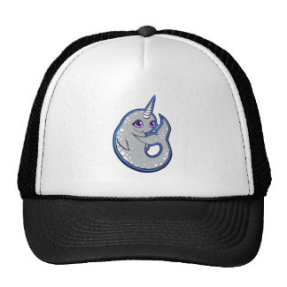Gray Narwhal Whale With Spots Ink Drawing Design Trucker Hat