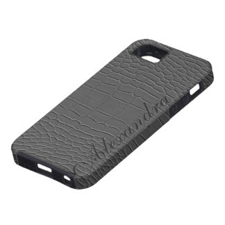 Gray Natural Fox Leather Look Monogram Case For The iPhone 5