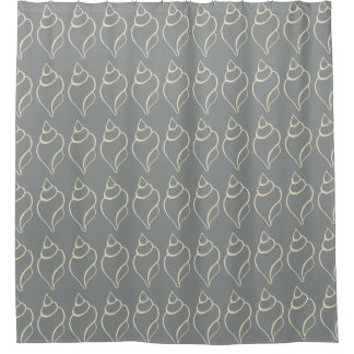 Gray Nautical Shells Seashell Beach Shower Curtain