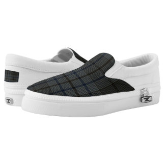 Gray/Navy/Black Plaid Slip On Sneakers