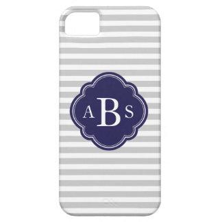 Gray & Navy Blue Skinny Stripes Custom Monogram iPhone 5 Cover