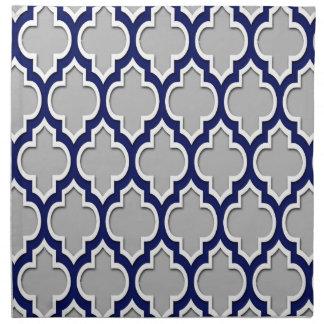 Gray, Navy Blue White Moroccan Quatrefoil #4DS Napkin