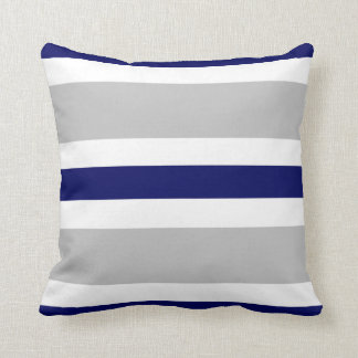 Gray Navy Blue & White Stripe Couch Pillow Gift