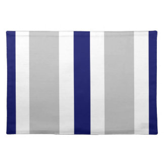 Gray Navy Blue & White Stripe Placemat Gift