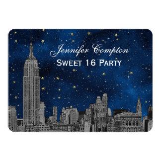 Gray NYC Skyline Etch Blue Starry BG SQ Sweet 16 H 5x7 Paper Invitation Card
