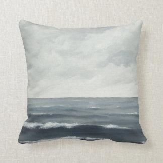 Gray Ocean Waves Pillow