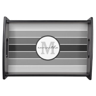 Gray Ombre Monogram Serving Tray