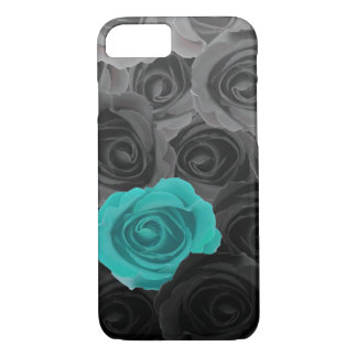 Gray Ombre Roses with Teal Accent iPhone 8/7 Case