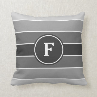 Gray Ombre Stripes with Monogram Throw Pillow