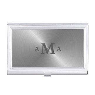 Gray on Silver Monogram Business Card Holder