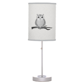 Gray Owls Table Lamp