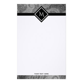 Gray Paisley Initial Customized Stationery