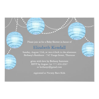Gray Party Lantern Baby Shower Invitation