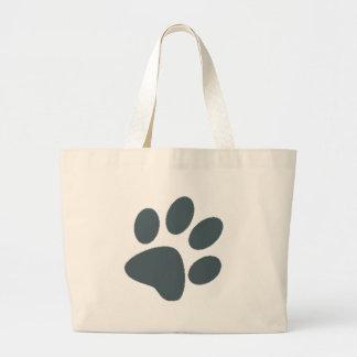 Gray Paw Print Large Tote Bag