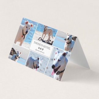 Gray Paw Prints - Photo Collage - Dog Kennel Business Card