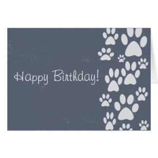 Gray Paws Paws Happy Birthday Card