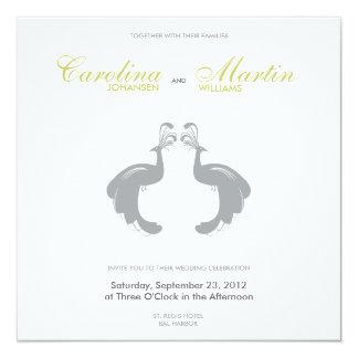 Gray Peacocks II Wedding Invite