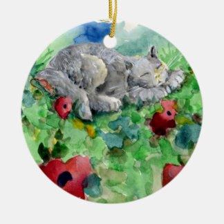 Gray Persian Kitty & Mouse Sleeping in Poppies Round Ceramic Ornament