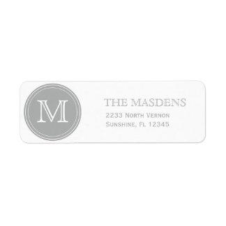 Gray Personalized Custom Monogrammed Return Address Label