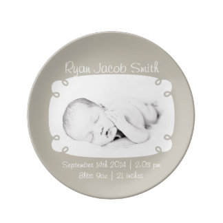 Gray Photo Ready Personalized Newborn Keepsake Plate
