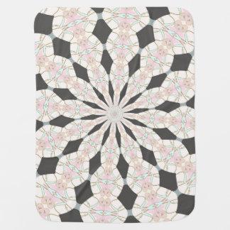 Gray Pink Blue Kaleidoscope Print Baby Blanket