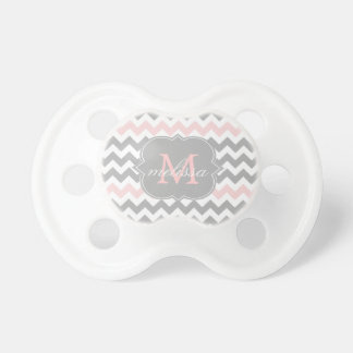 Gray Pink Chevron Monogram Pacifier
