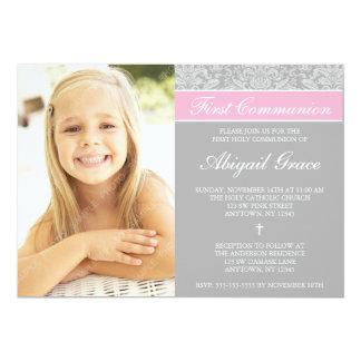 "Gray Pink Damask Girl Photo First Communion 5"" X 7"" Invitation Card"