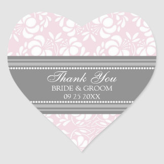 Gray Pink Damask Thank You Wedding Favor Tags Stickers