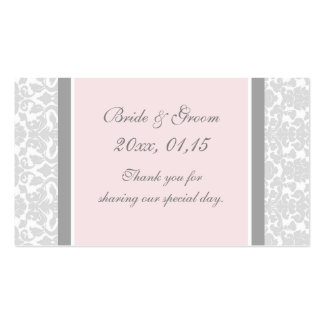 Gray Pink Damask Wedding Favor Tags Business Card