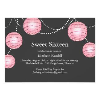 "Gray & Pink Party Lantern Sweet 16 Invitation 5"" X 7"" Invitation Card"