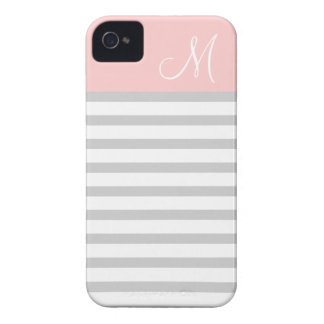 Gray & Pink Preppy Stripes Custom Monogram iPhone 4 Cover